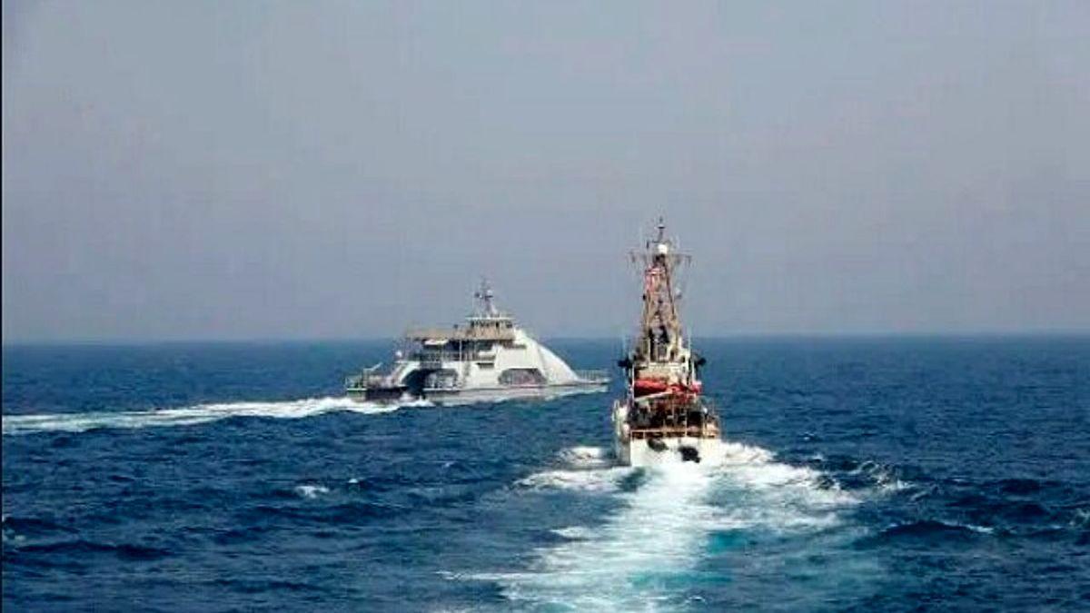 برخورد جنگی کشتی های ایران و آمریکا در خلیج فارس صبح امروز